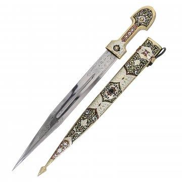 Кавказский кинжал Ирбис (ножны латунь, эмаль)