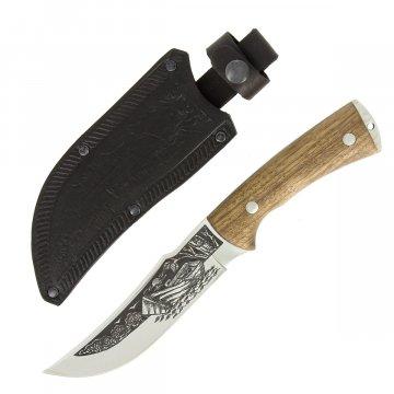 """Кизлярский нож туристический """"Рыбак-2"""" (сталь - AUS-8, рукоять - дерево, худож. оформ.)"""
