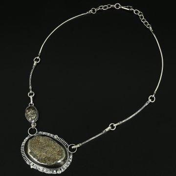 Серебряное колье Вселенная авторская работа (жеода пиритизированная)