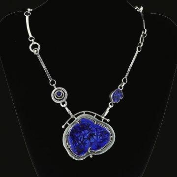Серебряное колье Душа океана с подвеской-брошью авторская работа (азурит)
