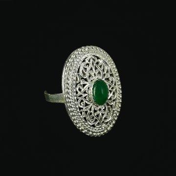 Кубачинское серебряное кольцо ручной работы с филигранью