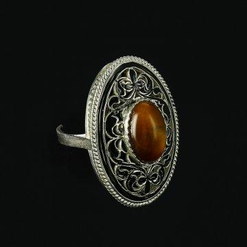 Серебряное кольцо с филигранью ручной работы (камень сердолик)