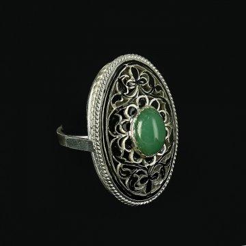 Кубачинское серебряное кольцо с филигранью ручной работы (камень - кошачий глаз)