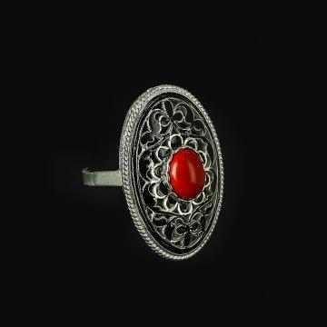 Кубачинское серебряное кольцо с филигранью ручной работы (камень - агат)