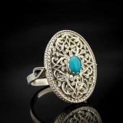 Кубачинское серебряное кольцо ручной работы с филигранью (камень - бирюза) арт.6893