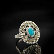 Кубачинское серебряное кольцо ручной работы с филигранью (камень - бирюза) арт.6894