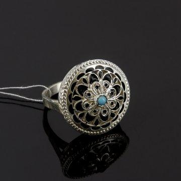 Кубачинское серебряное кольцо с филигранью ручной работы (камень - бирюза)