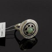 Кубачинское серебряное кольцо с филигранью ручной работы (камень - хризопраз)