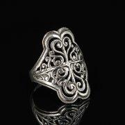 Кубачинское серебряное кольцо с филигранью ручной работы арт.8596
