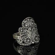 Кубачинское серебряное кольцо с филигранью ручной работы арт.8597
