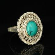 Кубачинское серебряное кольцо с филигранью ручной работы (камень - бирюза) арт.9420
