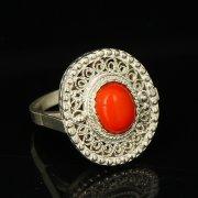 Кубачинское серебряное кольцо с филигранью ручной работы (камень - корунд) арт.9422