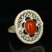 Кубачинское серебряное кольцо с филигранью ручной работы (камень - янтарь) арт.9424