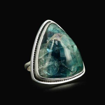 Серебряное кольцо (флюорит)
