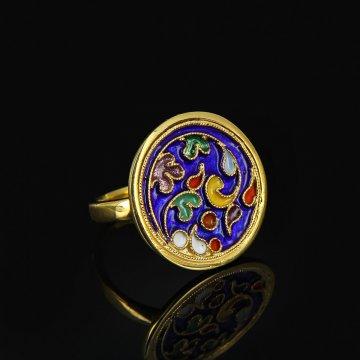 Кубачинское серебряное кольцо с эмалью ручной работы