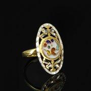 Кубачинское серебряное кольцо с эмалью ручной работы арт.8709