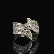 Кубачинское серебряное кольцо с филигранью ручной работы
