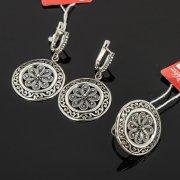 Кубачинский серебряный комплект украшений ручной работы с филигранью (серьги, кольцо) арт. 7879