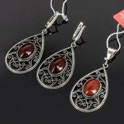 Кубачинский серебряный комплект украшений ручной работы с филигранью (серьги, кулон) арт. 7881