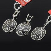 Кубачинский серебряный комплект украшений ручной работы с чернением (серьги, кулон) арт. 7890