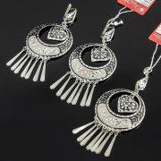 Кубачинский серебряный комплект украшений ручной работы с чернением (серьги, кулон) арт. 7893
