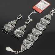 Кубачинский серебряный комплект украшений ручной работы с чернением (серьги, браслет) арт. 7894