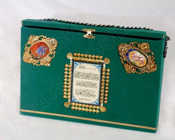 Футляр для Корана деревянный с зеленым велюровым покрытием