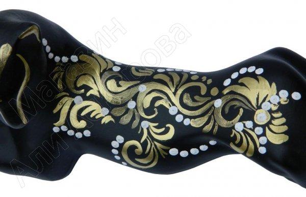 """Сувенирная кошка """"Багира"""" лежачая с росписью черная/золотистая большая"""