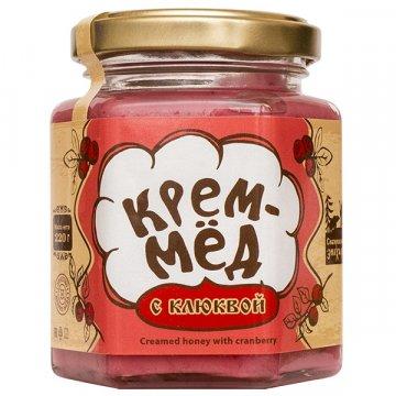 Натуральный крем-мёд с клюквой