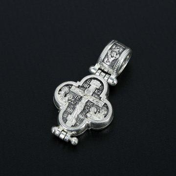 Серебряный православный крест-мощевик