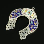 Кубачинская серебряная подкова с эмалью ручной работы арт.9692