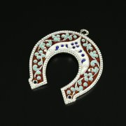 Кубачинская серебряная подкова с эмалью ручной работы арт.9694