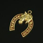 Кубачинская серебряная подкова с эмалью ручной работы арт.9791