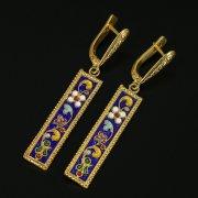 Кубачинские серебряные серьги ручной работы с эмалью арт.9729