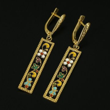 Кубачинские серебряные серьги ручной работы с эмалью