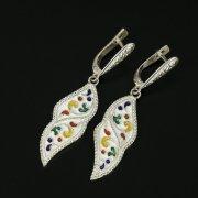 Кубачинские серебряные серьги ручной работы с эмалью арт.9745