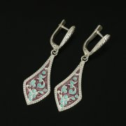 Кубачинские серебряные серьги ручной работы с эмалью арт.9748