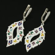 Кубачинские серебряные серьги ручной работы с эмалью арт.9749