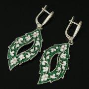Кубачинские серебряные серьги ручной работы с эмалью арт.9750