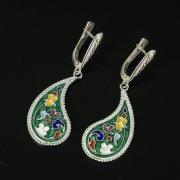Кубачинские серебряные серьги ручной работы с эмалью арт.9751