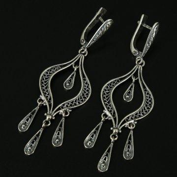 Кубачинские серебряные серьги ручной работы с филигранью