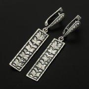 Кубачинские серебряные серьги ручной работы с чернением арт.11634