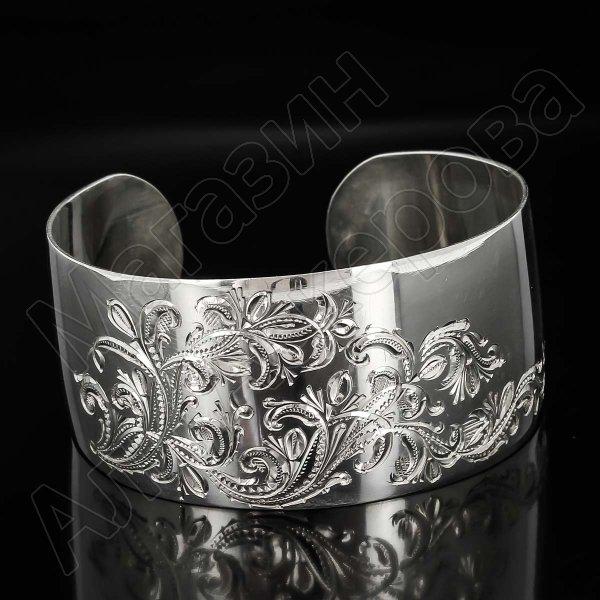 Серебряный кубачинский браслет белый №3