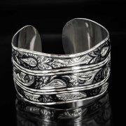 Серебряный кубачинский браслет с чернением арт.493