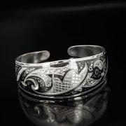 Серебряный кубачинский браслет с чернением арт.525