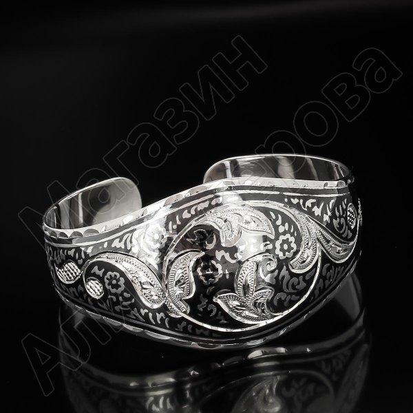 Серебряный кубачинский браслет широкий №18