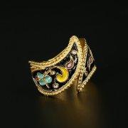 Кубачинское серебряное кольцо с эмалью ручной работы арт.9752