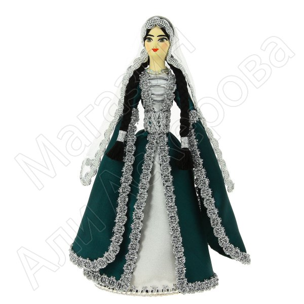 Керамическая кукла в дагестанском национальном костюме средняя