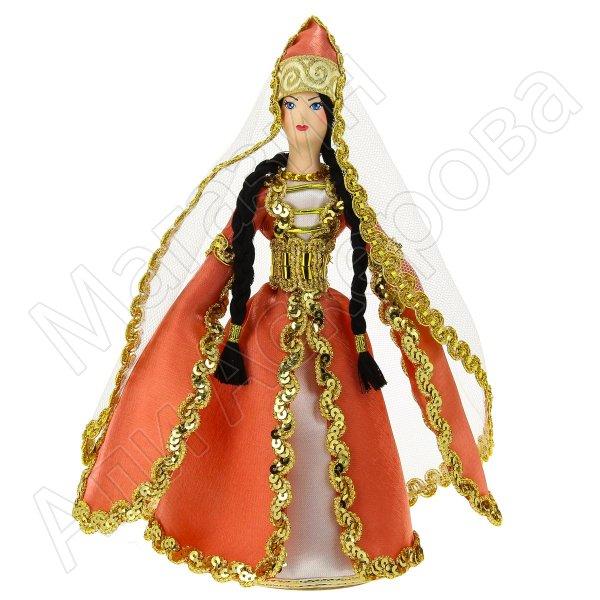 Керамическая кукла в адыгейском национальном костюме средняя