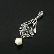 Кубачинский серебряный кулон ручной работы (камень - жемчуг) арт.10469